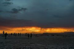 Atacama desert, Chile. Beautiful sunset in the moon valley, Atacama desert, Chile Stock Photo