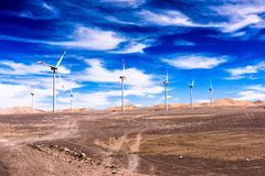 Atacama desert, Chile. NOV 3, 2014: Wind mill in the . Atacama Desert proper occupies 105,000 square kilometres royalty free stock images
