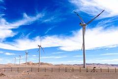 Atacama desert, Chile. NOV 3, 2014: Wind mill in the . Atacama Desert proper occupies 105,000 square kilometres royalty free stock photos