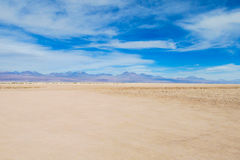 Atacama desert flat land. Dry desert in Atacama, Chile. Arid flat land in Moon valley stock photo