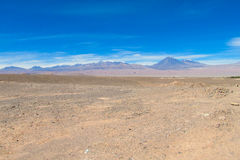 Atacama desert. Landscape, volcano on horizon, Chile stock image
