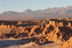 Atacama Desert and volcano range in evening, Chile. The Atacama Desert is a volcanic plateau in Chile (South America) west of the Andes mountains. It is the Stock Photography