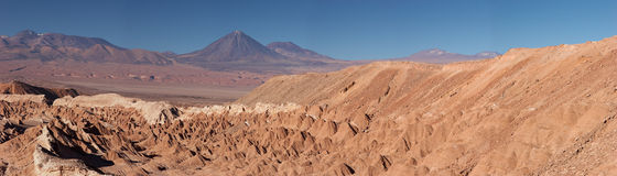 Atacama Desert and volcanoes panorama, Chile Stock Photography