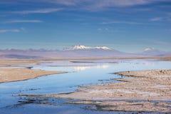 Atacama Landscape. Salt Lagoon and Volcana in the Atacama Desert, Chile Stock Photos