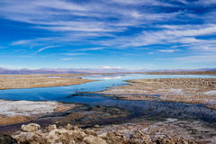 Atacama Landscape. Salt Lagoon and Volcana in the Atacama Desert, Chile Stock Photo