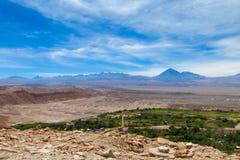 Atacama pustyni oaza i wulkanu krajobraz Obrazy Stock