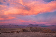 Atacama Sunset. Colorful sunset over the volcanic landscape of the Atacama Desert in northern Chile stock images