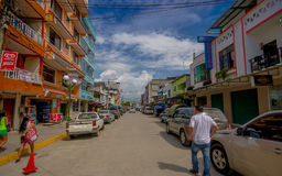 ATACAMES, ECUADOR - March 16, 2016: Steet view of beach town located on Ecuador's Northern Pacific coast. It is located in the p. Rovince of Esmeraldas royalty free stock photography