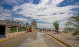 ATACAMES, ECUADOR - March 16, 2016: Steet view of beach town located on Ecuador`s Northern Pacific coast in Same. Ecuador royalty free stock photo