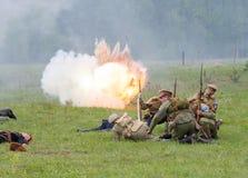 Atack dell'artiglieria Fotografia Stock