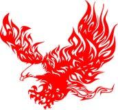 Atacking Adler in Flammen 4 Stockfotos