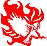Atacking Adler in Flammen 6 Stockbild
