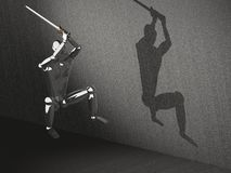atacking krigare för hopp 3d Arkivbild