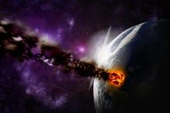 Atak asteroida na planety ziemi ilustracji