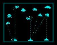 Atak astronautyczne najeźdźcy ilustracja wektor