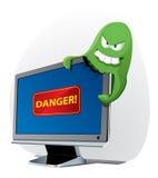 atakuje komputerowego wirusa Fotografia Royalty Free