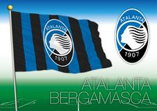 BERGAMO, ITALY, YEAR 2017 - Serie A football championship, 2017 flag of the Atalanta Bergamasca team. Atalanta football club flag and seal, vector file Royalty Free Stock Photos