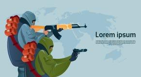 Ataque armado terrorismo del mundo del planeamiento de la ametralladora del arma de Black Mask Hold del terrorista libre illustration