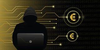 Ataque cibernético del crimen de los euros de la ganga del pirata informático stock de ilustración