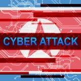 Ataque cibernético por el ejemplo que corta criminal norcoreano 3d libre illustration