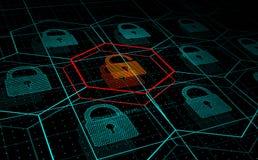 Ataque cibernético, sistema bajo amenaza, ataque del DDoS ilustración del vector