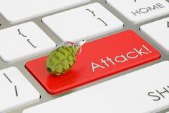 Ataque! conceito, no teclado de computador rendição 3d Imagens de Stock