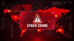 Ataque de advertência do alerta do crime do Cyber no mapa do mundo da tela ilustração stock