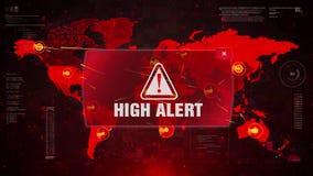 Ataque de advertência do alerta da alerta alta no mapa do mundo da tela ilustração royalty free