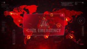 Ataque de cuidado de la alarma civil de la emergencia en el movimiento del lazo del mapa del mundo de la pantalla libre illustration