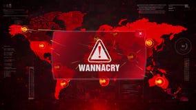 Ataque de cuidado de la alarma de WannaCry en mapa del mundo de la pantalla ilustración del vector