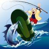 Ataque de los peces espadas Imágenes de archivo libres de regalías
