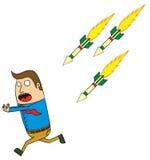 Ataque de misiles autoguiado hacia el blanco Foto de archivo libre de regalías
