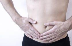 Ataque del apéndice Dolor en el lado derecho en el abdomen, imagen del primer Foto de archivo