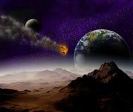 Ataque del asteroide contra la tierra del planeta ilustración del vector
