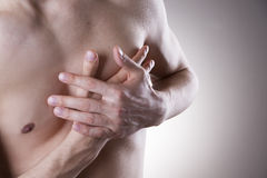 Ataque del corazón Dolor en el cuerpo humano imágenes de archivo libres de regalías