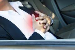 Ataque del corazón en coche Foto de archivo libre de regalías