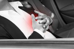 Ataque del corazón en coche Imágenes de archivo libres de regalías