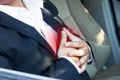 Ataque del corazón en coche Fotos de archivo