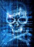 Ataque del pirata informático con el fondo del cráneo Foto de archivo libre de regalías