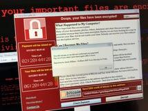 Ataque del ransomware de WannaCry fotos de archivo