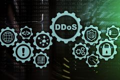 Ataque do Cyber de DDoS Conceito da tecnologia, do Internet e da rede da prote??o Fundo do datacenter do servidor ilustração royalty free