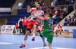 Ataque do handball Fotografia de Stock Royalty Free