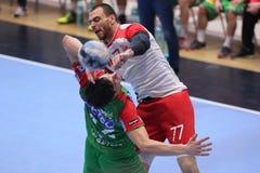Ataque do handball Fotos de Stock Royalty Free
