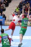Ataque do handball Foto de Stock Royalty Free