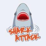Ataque do tubarão do sinal de aviso Cartaz para t-shirt ilustração do vetor