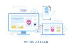 Ataque do vírus no dispositivo digital Dados pessoais ilustração stock