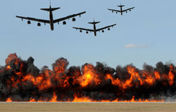 Ataque dos bombardeiros pesados Fotografia de Stock