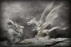 Ataque dos dragões Imagens de Stock