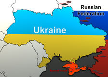 Ataque em uma unidade militar em Crimeia mapa Imagem de Stock Royalty Free