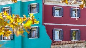 Ataque frontal coloreado doble en Burano Foto de archivo libre de regalías